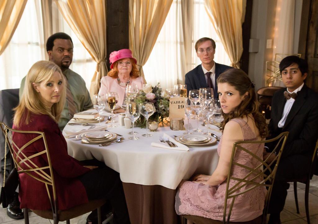 The guests at table 19 - Bina (Lisa Kudrow) and Jerry Kepp (Craig Robinson), Jo Flanagan (June Squibb), Walter Thimble (Stephen Merchant), Renzo Eckberg (Tony Revolori) and Eloise McGarry (Anna Kendrick).