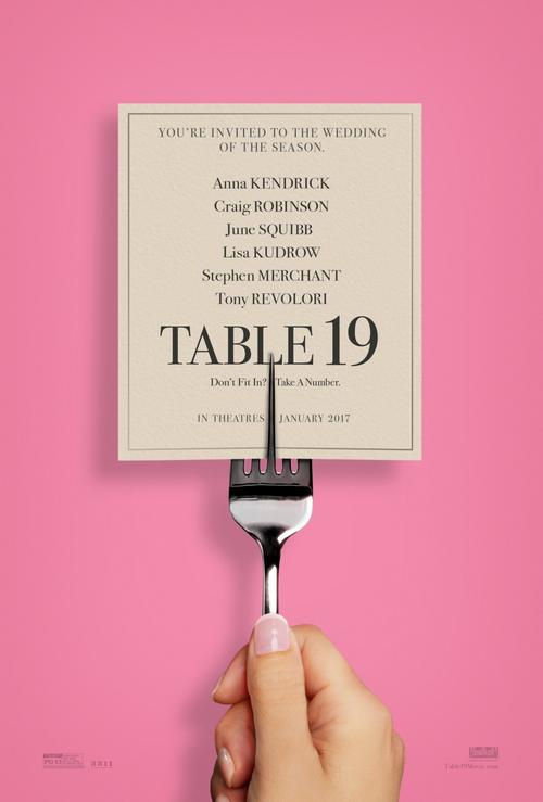 The film poster showing a fork holding up a wedding invitation. The fork has five tines, the middle one is the only tine in front of the invitation.