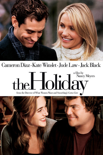 The film poster showing Amanda (Cameron Diaz) and Graham (Jude Law) above the film title and Iris (Kate Winslet) and Miles (Jack Black) below it.