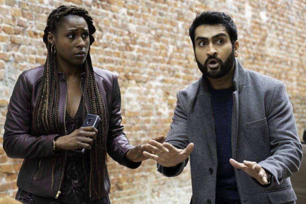 Leilani (Issa Rae) and Jibran (Kumail Nanjiani) looking surprised and worried.