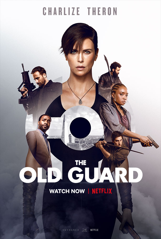 The film poster showing Andy (Charlize Theron) and the other immortals, as well as Copley (Chiwetel Ejiofor) as smaller images grouped around her.