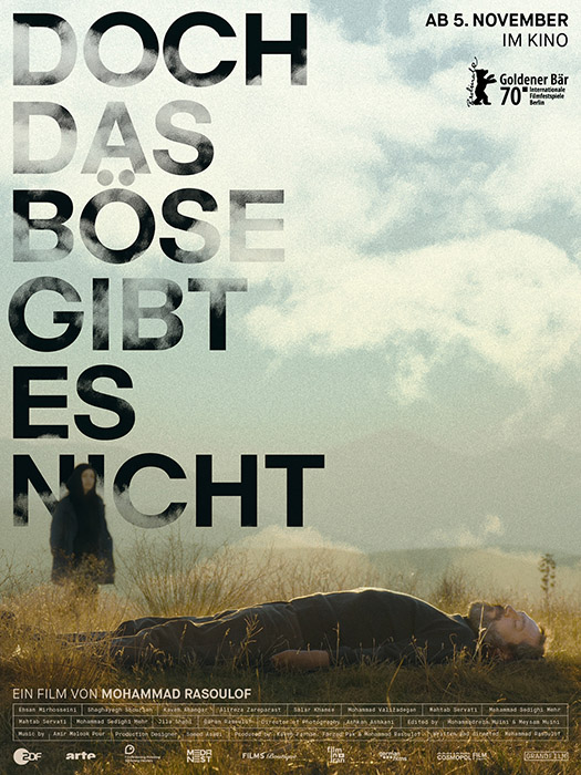 The film poster showing a man lying in the grass. Behind him in the distance a woman can be seen.
