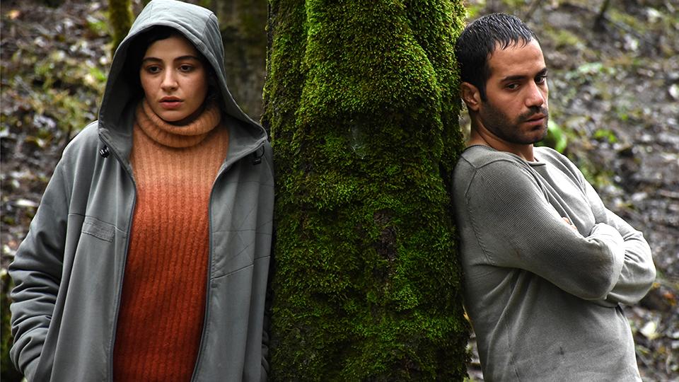 Na'na (Mahtab Servati) and Javad (Mohammad Valizadegan) leaning against a tree.