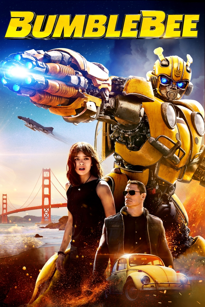 The film poster showing Bumblebee in humanoid form, Charlie (Hailee Steinfeld), Agent Burns (John Cena) and Bumblebee in car form surrounded by sparks from an explosion in front of the Golden Gate Bridge.