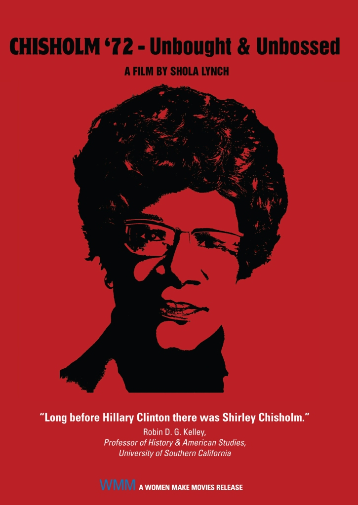 The film poster that is all red with Chisholm's face on it in black.