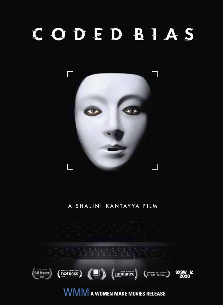 The film poster showing a white mask in front of a black background. Around the eyes you can see that a Black person is wearing the mask.