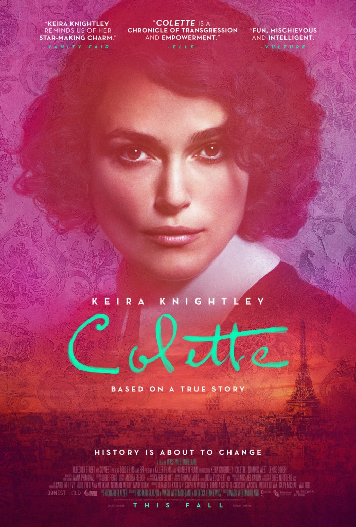The film poster showing Colette (Keira Knightley) over the city scape of Paris. Everything is in different hues of pink.