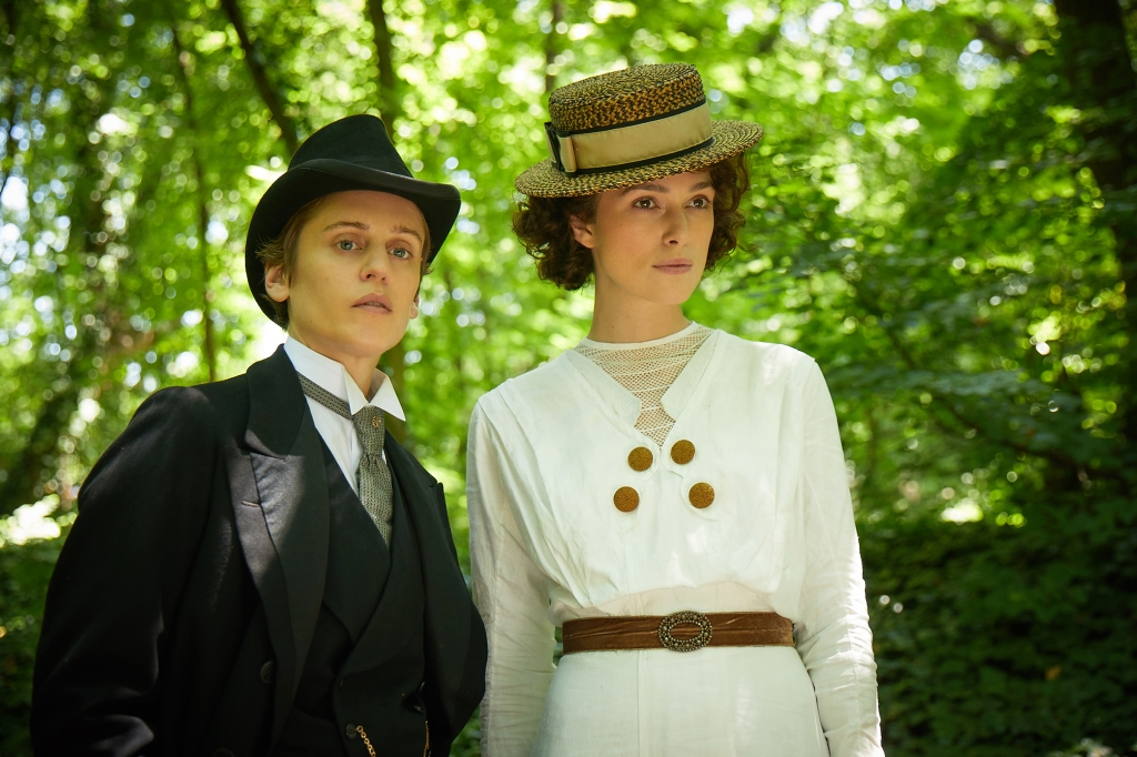 Colette (Keira Knightley) on a walk with Missy (Denise Gough).