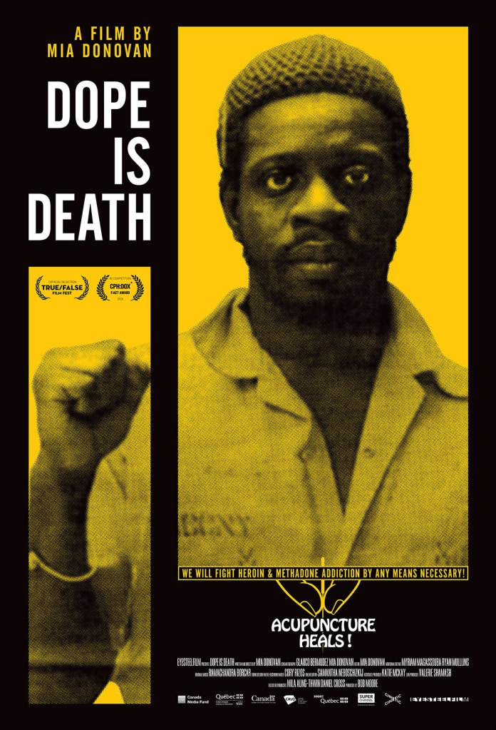 The film poster showing Mutulu Shakur making the Black power fist.