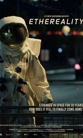 The film poster showing an astronaut in a space suit on earth.
