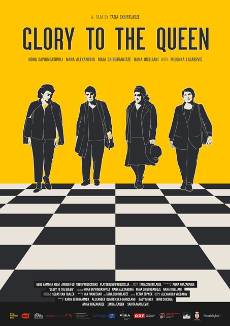 The film poster showing drawings of the four women walking over a chess board.