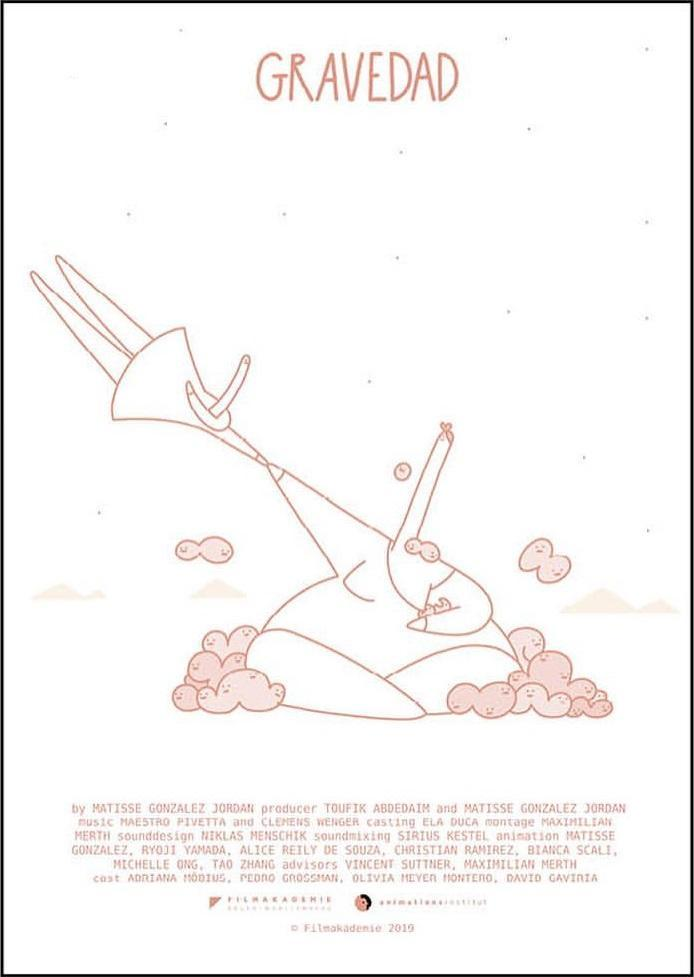 The film poster showing a drawing in soft pink on a white background. a woman with a whole lot of babies sits on the ground, holding on to another much smaller woman who appears to be floating away.