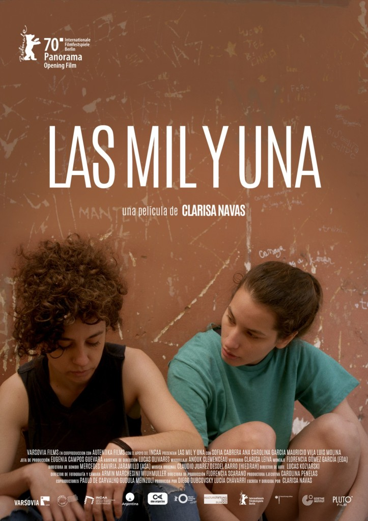 The film poster showing Renata (Ana Carolina Garcia) and Iris (Sofia Cabrera) leaning against a brown wall.