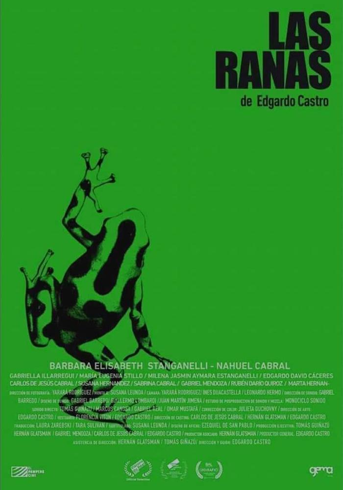 The film poster in simple grass green with a black frog on it.