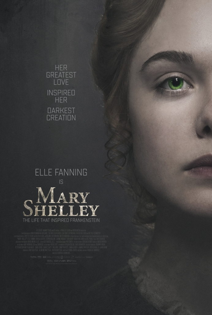 The film poster showing half of Mary's (Elle Fanning) face.