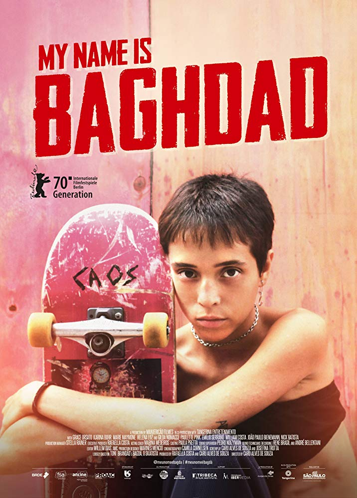 The film poster showing Bagdá (Grace Orsato) hugging her skateboard.