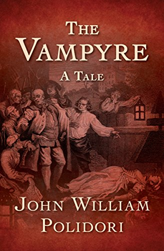 The book cover of The Vampyre, showing an old etching showing a group of men looking at a woman's corpse.