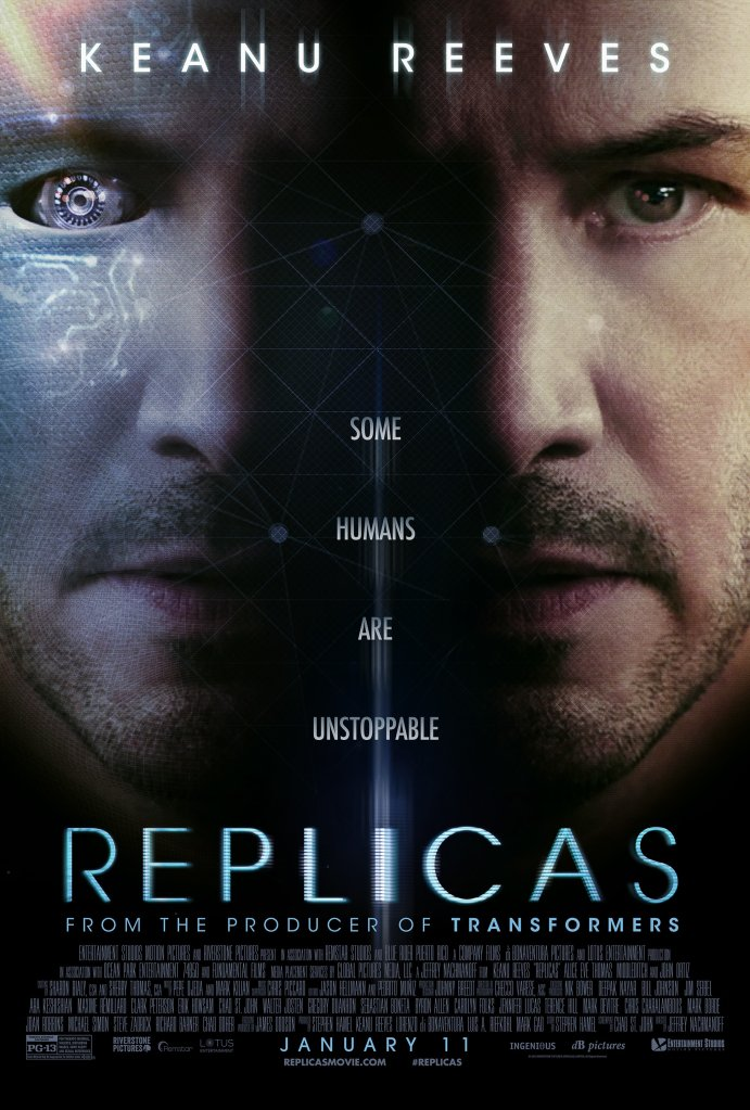 The film poster showing William (Keanu Reeves) twice, once with digital / technical elements in his face.