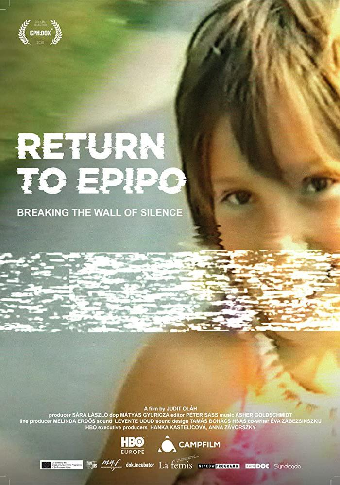 The film poster showing director Judit Oláh as a child smiling at the camera, a distortion across the image.