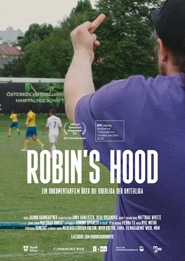 The film poster showing Robin from behind as he gives the finger to someone on a soccer field.