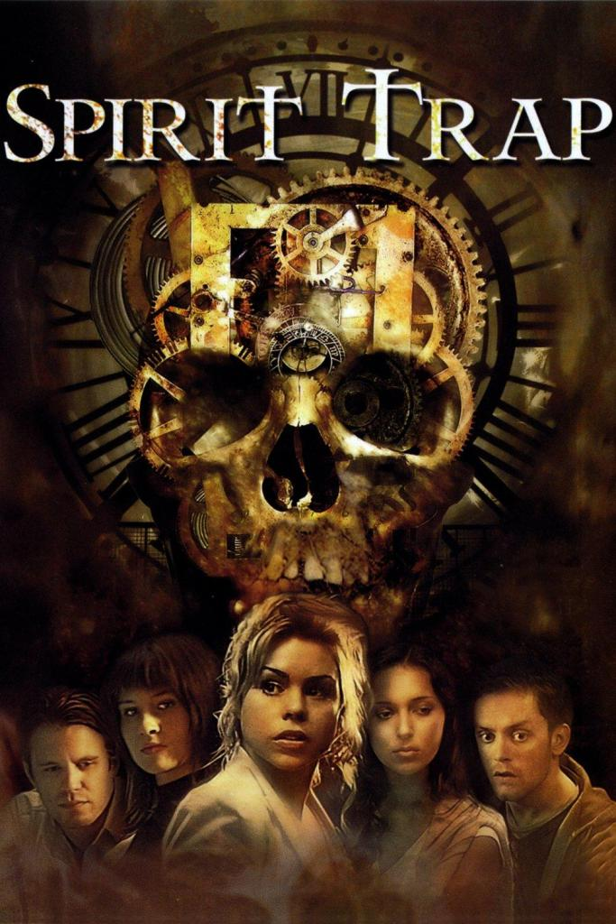 The film poster showing a skull superimposed over clockwork and the five main characters.