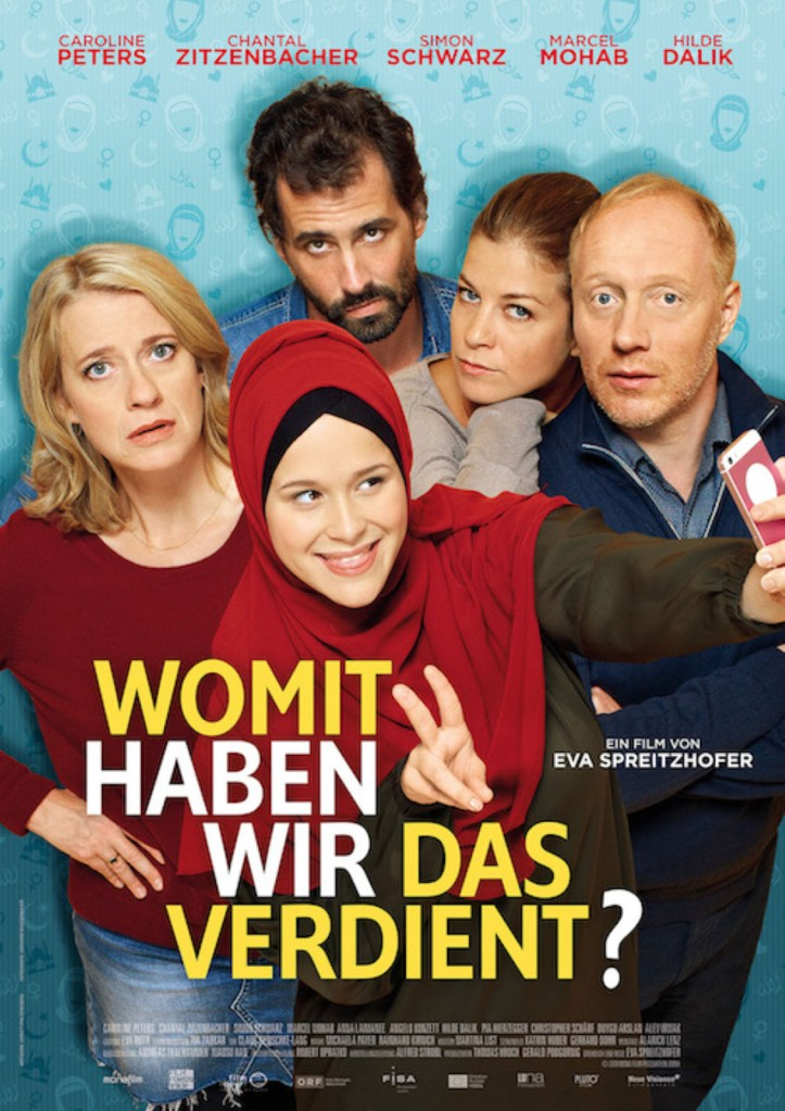 The film poster showing Nina (Chantal Zitzenbacher) as she makes a selfie while wearing a hijab, surrounded by her parents Wanda (Caroline Peters) and Harald (Simon Schwarz), as well as her parents' new partners (Marcel Mohab, Hilde Dalik).