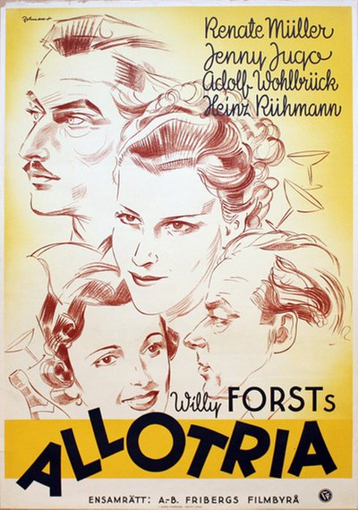 The film poster showing a pencil portrait of the four main characters.