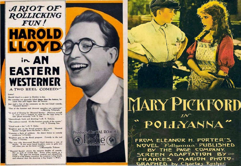 Both film posters next to each other. An Eastern Westerner's simply shows Harold Lloyd laughing. Pollyanna's shows Pollyanna (Mary Pickford) talking to Jimmy (Howard Ralston).