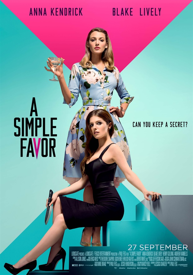 The film poster showing Stephanie (Anna Kendrick) holding a knife and Emily (Blake Lively) holding a drink.