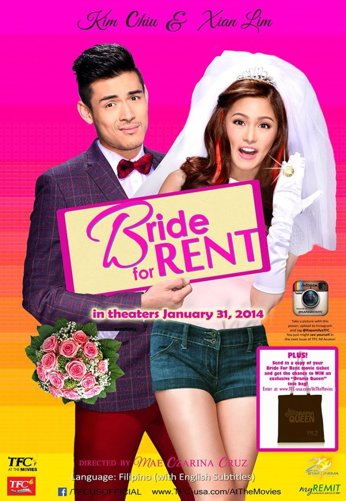 The film poster showing Rocky (Kim Chiu) with a bridal veil and a big ring, and Rocco (Xian Lim) hugging her with a slightly uncomfortable facial expression.