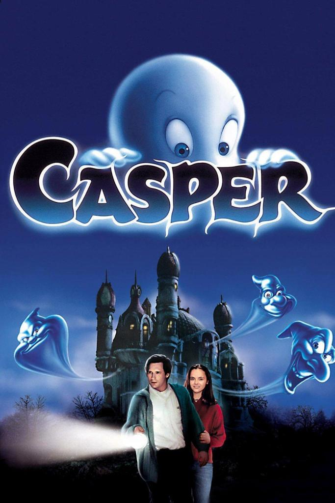 The film poster showing Casper glimpsing over the letters of his name above the manor. His three ghost uncles' heads can be seen coming out of the manor. In front of it are Dr. Harvey (Bill Pullman) and Kat (Christina Ricci).