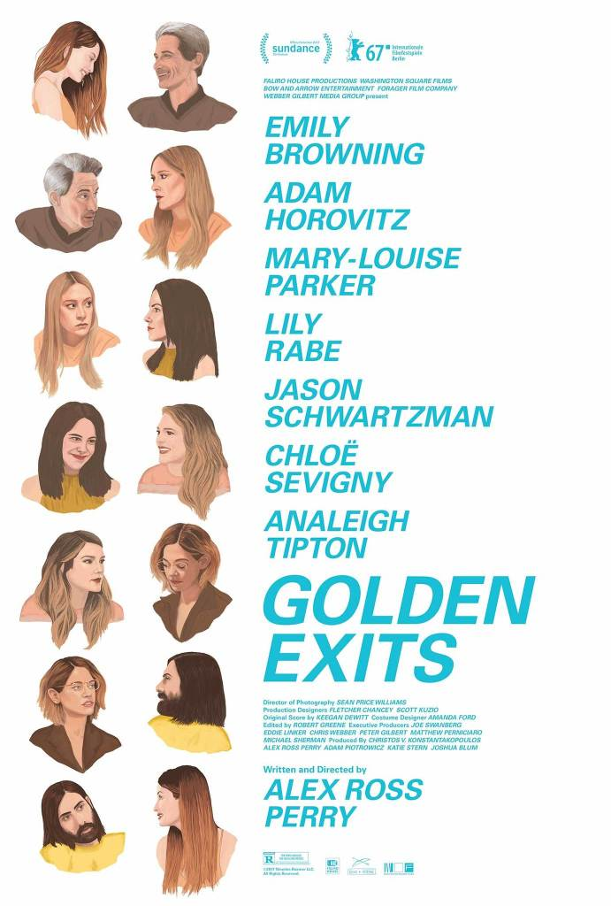 The film poster showing drawings of the main characters in pairs, talking to each other. Every person is in two conversations, making a chain of conversations.