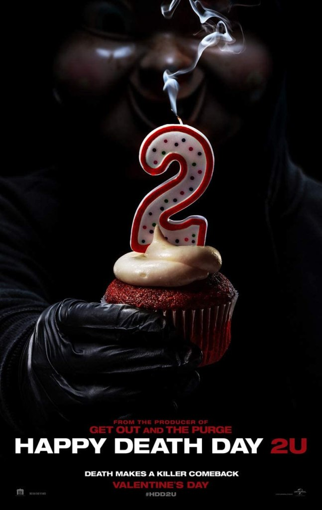 "The film poster showing a masked person holding up a cupcake with a blown-up candle in the shape of a ""2""."