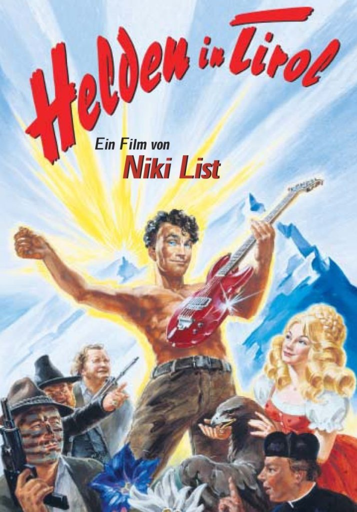 The film poster showing a drawing of the main characters, front and center shirtless Max Adler (Christian Schmidt), playing an electric guitar.
