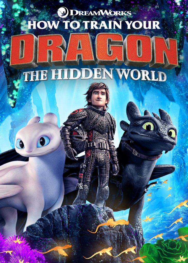 The film poster showing Hiccup (Jay Baruchel) standing together with Toothless and Light Fury.