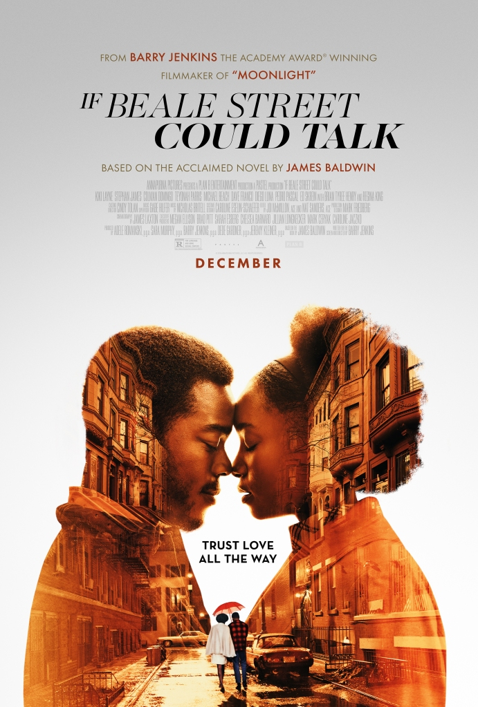 The film poster showing Tish (KiKi Layne) and Fonny (Stephan James) leaning their foreheads against each other. Superimposed in their shapes we can also see them walking down a New York street, huddled under a red umbrella.