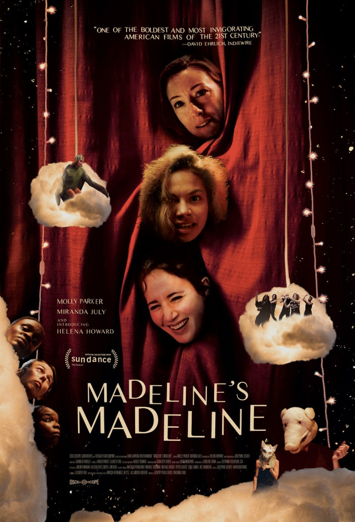 The film poster showing Evangeline (Molly Parker), Madeline (Helena Howard) and Regina (Miranda July) poking their heads through a red curtain. Around them several (much smaller) people can be seen on stage clouds, floating around them.