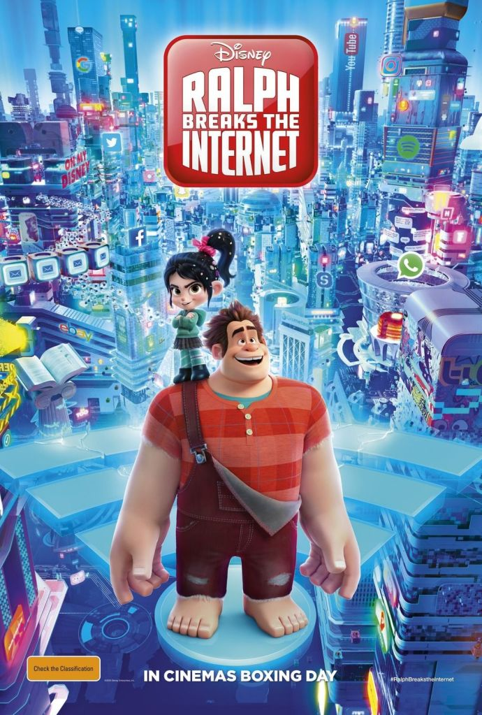 The film poster showing Ralph standing on a wife sign that floats through a city filled with social media icons. Vanellope is standing on his shoulder.