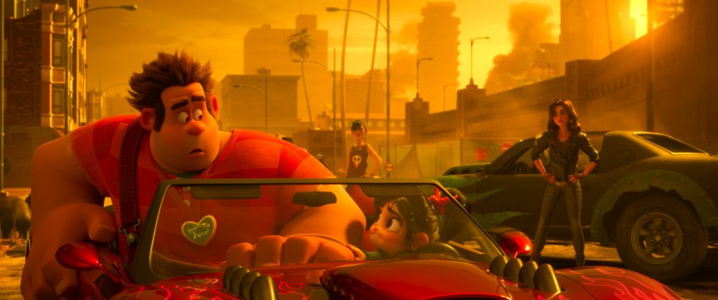 Ralph and Vanellope in a sports car, driving away from Shank.