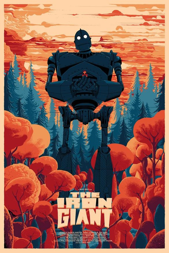 The film poster showing the Iron Giant, a huge robot, standing in a forest, cradling Hogarth in his hands.