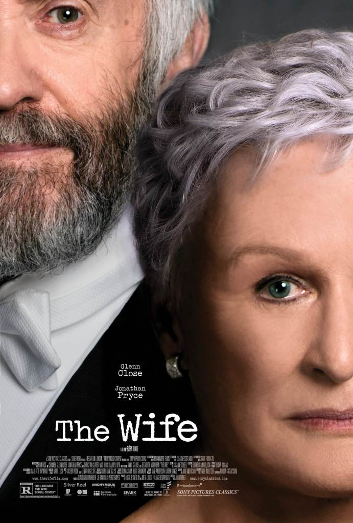 The film poster showing the faces of Joe (Jonathan Pryce) and Joan (Glenn Close) in close-up.