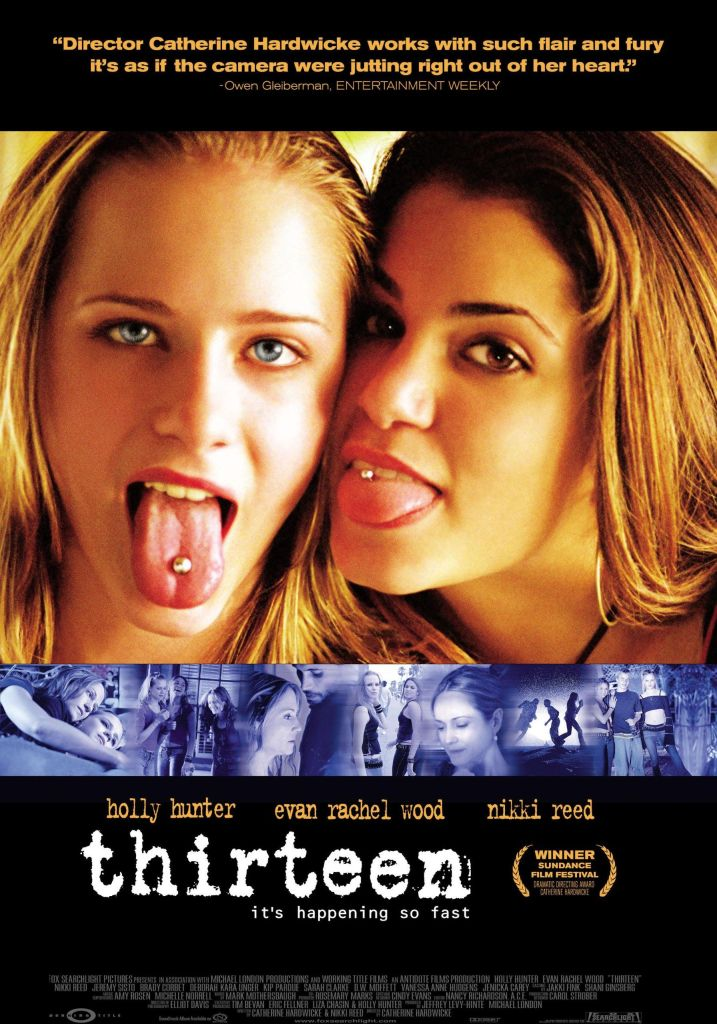 The film poster showing Tracy (Evan Rachel Wood) and Evie (Nikki Reed) sticking out their tongues to show off their tongue piercings.