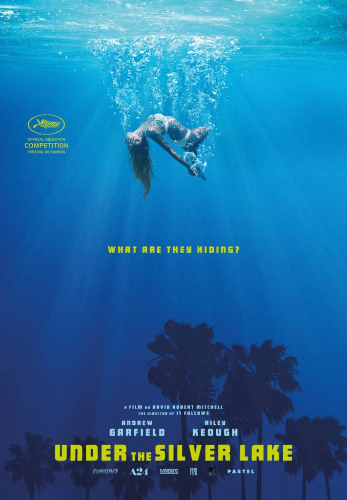 The film poster showing a woman in a bikini in water. At the bottom of the water are palm trees.