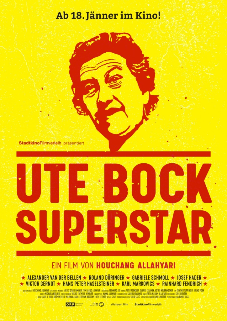 The film poster showing a stencil of Ute Bock's face in red on yellow background.