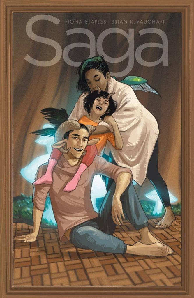 The book cover showing Alana, Marko and Hazel in a happy family portrait.
