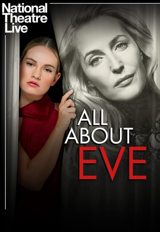 The poster for the play showing Eve (Lily James) peeking out from a curtain with Margo's (Gillian Anderson) face on it.