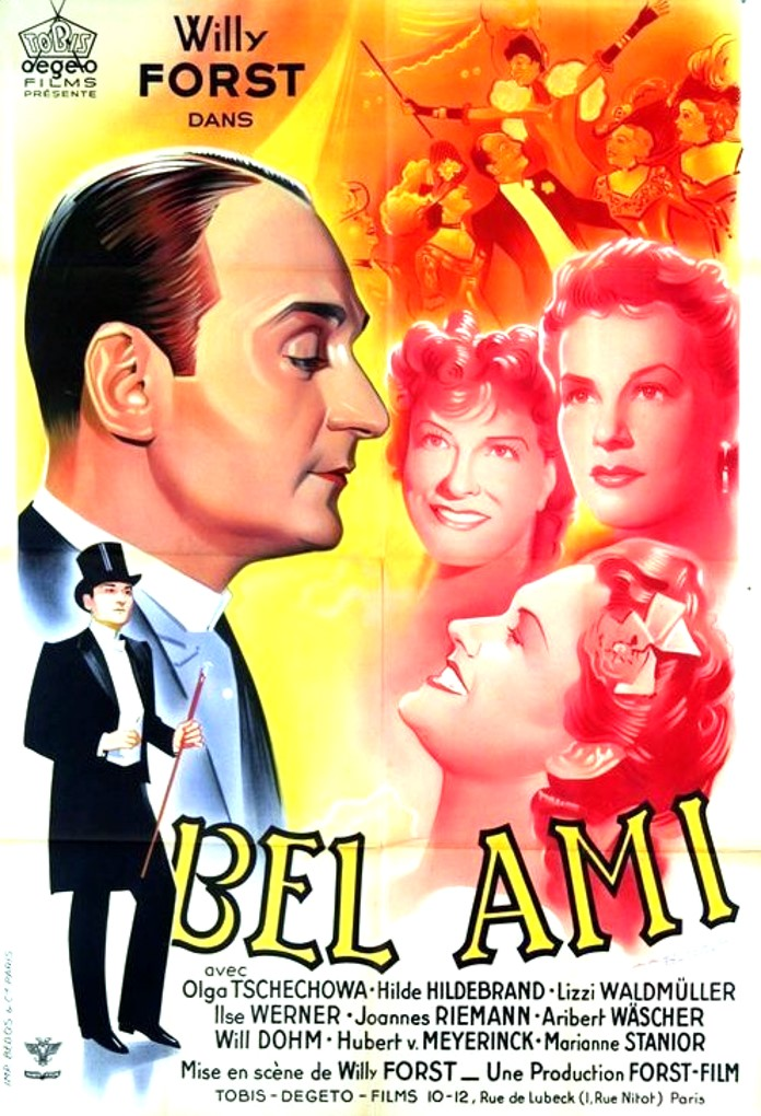 The film poster showing drawings of the main characters, above all Georges (Willi Forst) and the women around him.