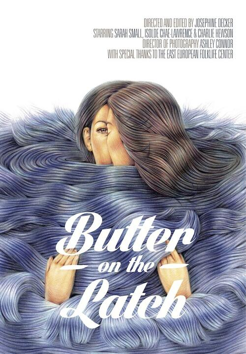 The film poster showing a drawing of two women holding each other surrounded by swirls and swirls of hair.