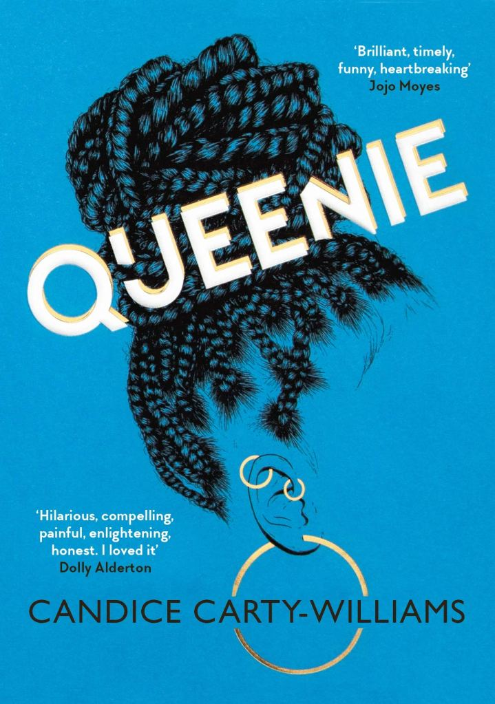 The book cover showing the drawing of a knot of rasta locks, and a pierced ear with three earrings. The face of the drawn person isn't visible.