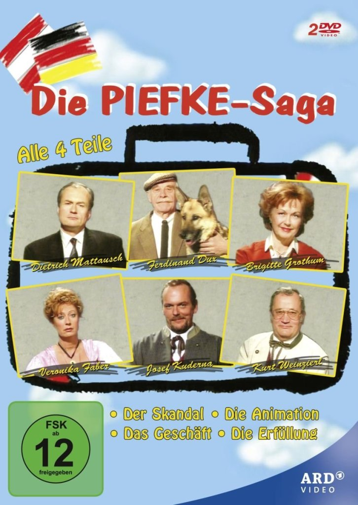 The series poster showing the six main characters in the drawing of a suitcase.